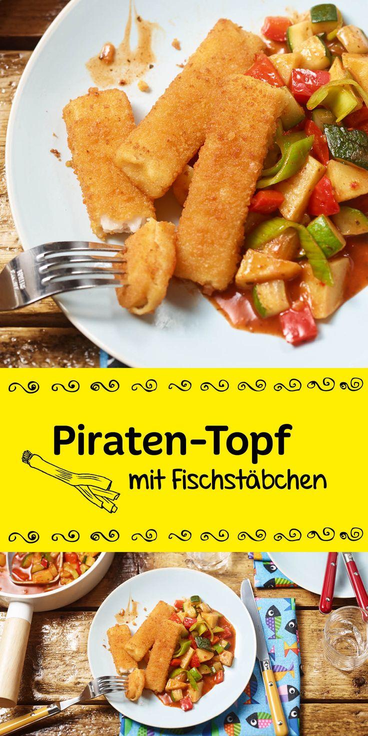 Kinderglück zum Aufgabeln.  Für hungrige Mäulchen gibt es heute einen aufregenden Piraten-Topf mit leckeren Fischstäbchen dazu.  Sie werden es lieben.