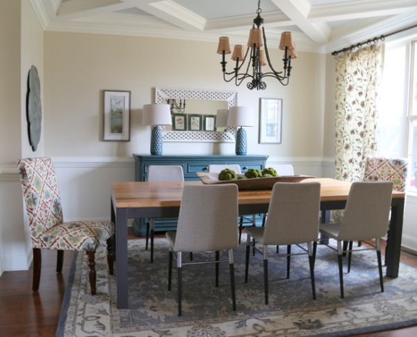 The End of the Formal Dining Room - painted dresser as sideboard with casual dining set