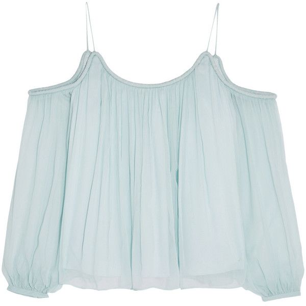 Elizabeth and James Maylin crinkled silk-georgette top found on Polyvore featuring tops, shirts, crop tops, blouses, blusas, blue, strappy top, off shoulder crop top, off shoulder shirt and blue crop top