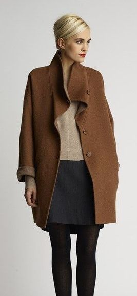Eileen Fisher | Alpaca Coat, Cashmere Sweater  Knit Skirt