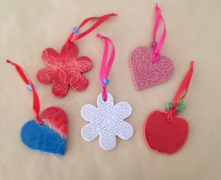 FREE shipping - Handmade ceramic Christmas ornaments - Home decor by IoannasVeryCHic on Etsy