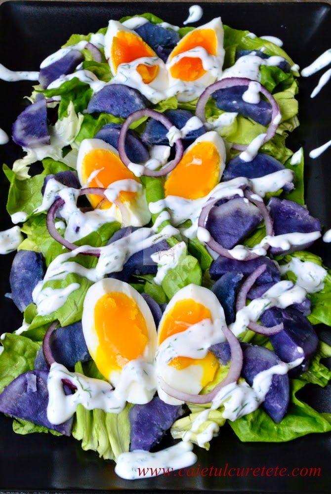 Salata cu cartofi violet si dressing de iaurt | CAIETUL CU RETETE