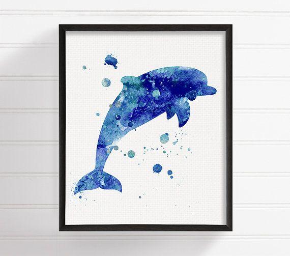 Aquarelle Dauphin, Dauphin Art Print, Dolphin peinture, Art Ocean, Decor de salle de bains, pépinière nautique, sticker côtières, Sea Life Art, bleu