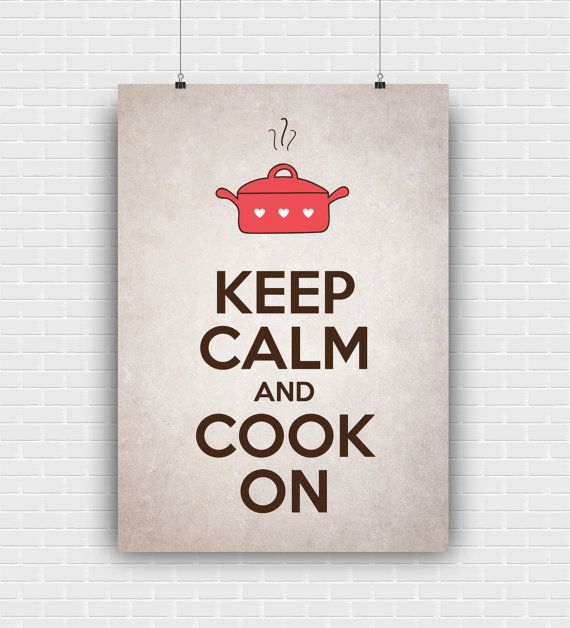 Keep calm and cook on printable art quote design. by GraphicCorner