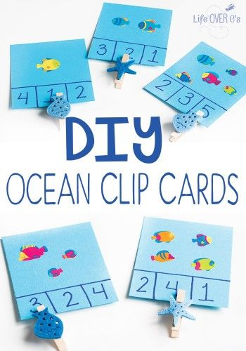 These DIY Ocean Clip Cards for counting will be perfect for a preschool ocean theme! Practice counting to 6 and work on fine-motor skills with an activity you can make in less than five minutes.
