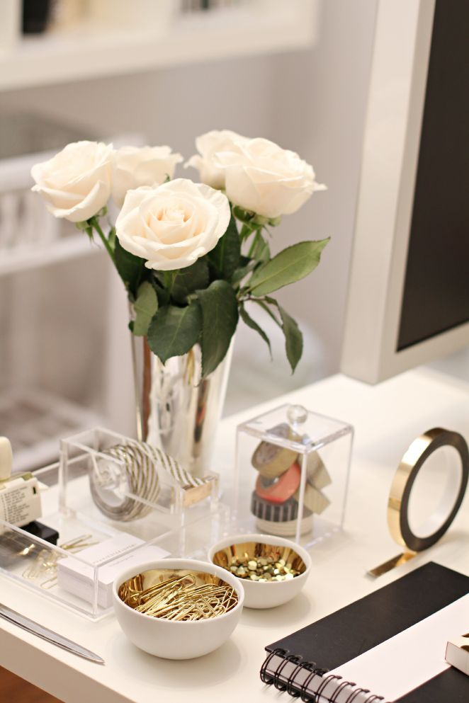 Roses and rust a desk job Office desk decoration ideas