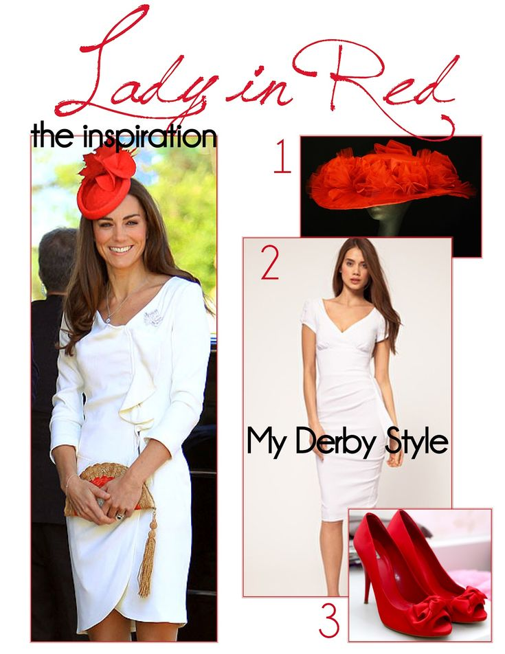 Red Kentucky Derby outfit inspired by Kate Middleton - Love the hat!