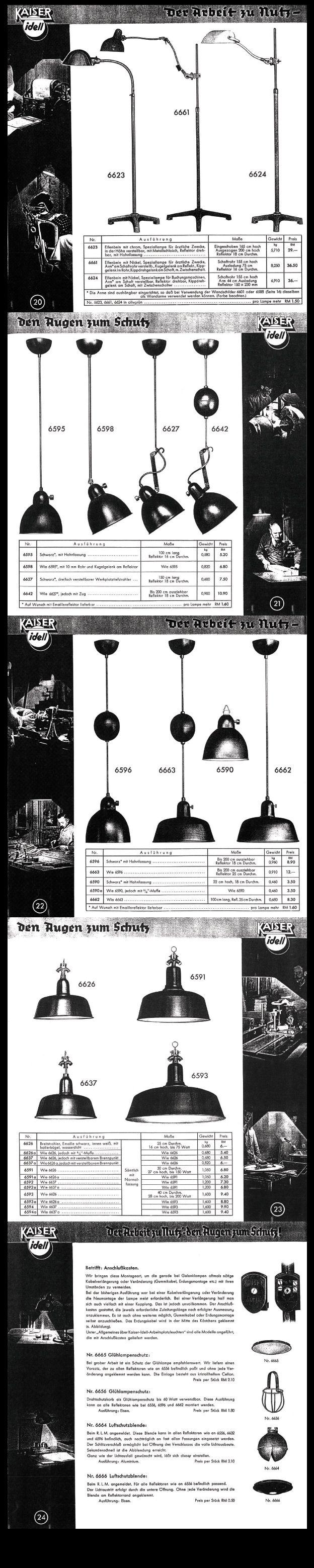 Rare Kaiser & Co. Work Lamp Catalogue 1936 - Pages 20 to 24 #KaiserIdell #Kaiser #Idell #ChristianDell #Bauhaus #Modernism #Modernist #molecula