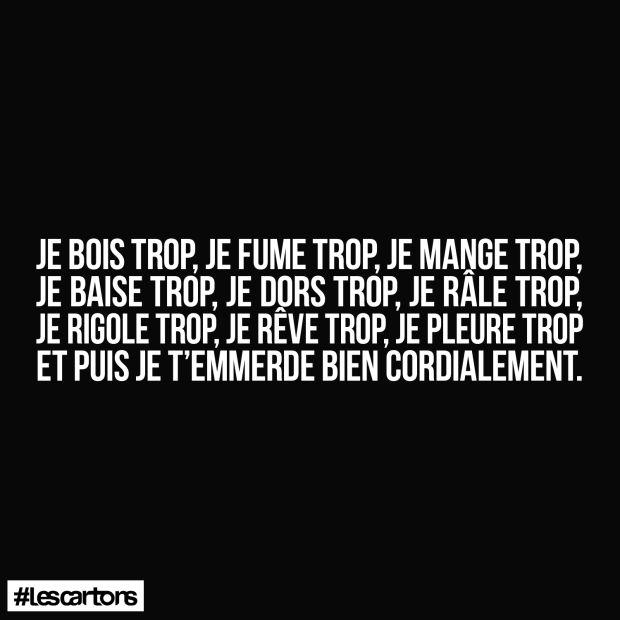 love ! #lescartons #bois #fume #mange #baise #dors #râle #rigole #reve #pleure #jet'emmerde