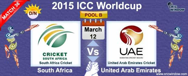 ICC Cricket World cup - 2015 : Thursday, 12 March, 2015 Pool B : SA vs UAE Match-36 (D/N) Preview and Live Score Westpac Stadium, Wellington Time : GMT 01:00 Local 14:00 IST 06:30 http://www.cricwindow.com/icc-worldcup-2015/sa-vs-uae-preview-match36.html http://www.cricwindow.com/live-stream-video.html http://www.cricwindow.com/cricket_live_scores.html