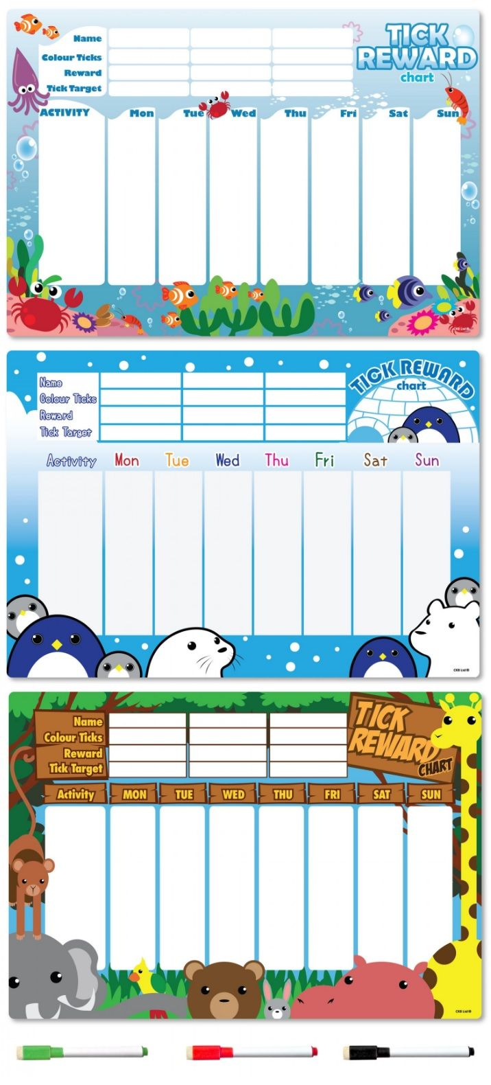 Support your child's positive behavior and accomplishments. The CKB Ltd Magnetic Reward Chart will stick to any metal surface like a fridge in the kitchen. The fun designs make it more engaging for a preschool kid.
