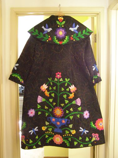 wool applique coat - graphic