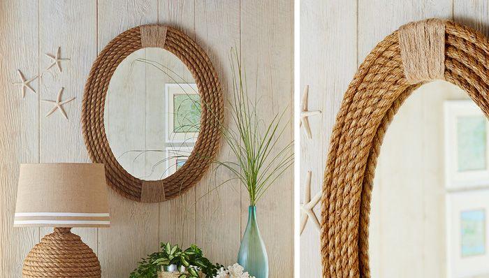Cornice decor fai da te con corda su specchio ovale