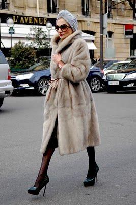 baba bijoux. perfection.: Fur Coats, Fashion Statement, Catherine Baba, Christian Dior, Street Style, Turban Hats, Catherine Zeta-Jon, Turban Style, Inspiration Style
