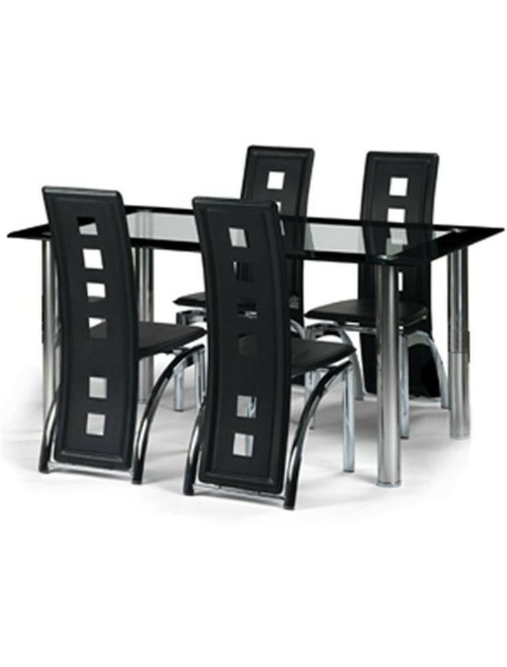 Julian Bowen Brescia Glass And Chrome Dining Table With 4 Black Chairs