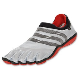 The adidas adiPURE Barefoot men's training shoes are the first barefoot shoe designed to be used in the gym. Promoting natural movement by harnessing the body's mechanics, the shoe activates and strengthens muscles, builds balance, and promotes dexterity. Featuring an independent toe separation design and a quarter-inch minimalistic profile, the shoe allows your foot to be close to the ground. This gives you superior speed, balance, and agility. The barefoot-shaped construction mimics the…