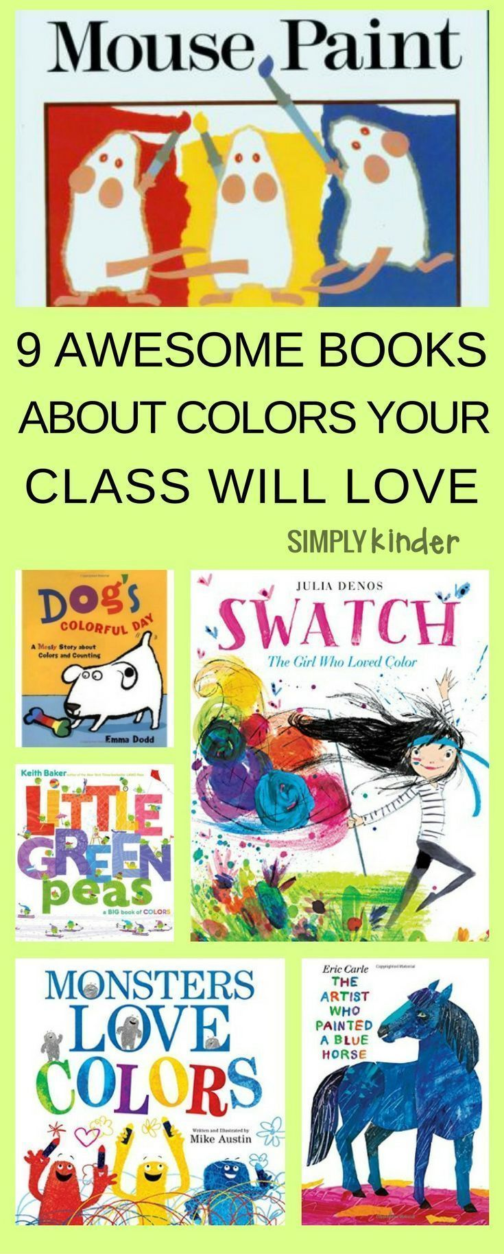 These fun books about color are PERFECT for preschool and Kindergarten Students learning color words. Continue the fun with ideas for color activities, games and lively songs (includes free printables).