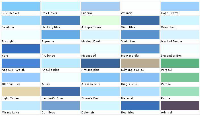 Beautiful Paint Colors Blue #5 Light Blue Paint Color Chart