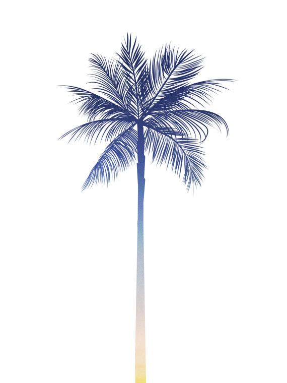 Palm Tree Print Sunset Art Palm Print Blue by MelindaWoodDesigns
