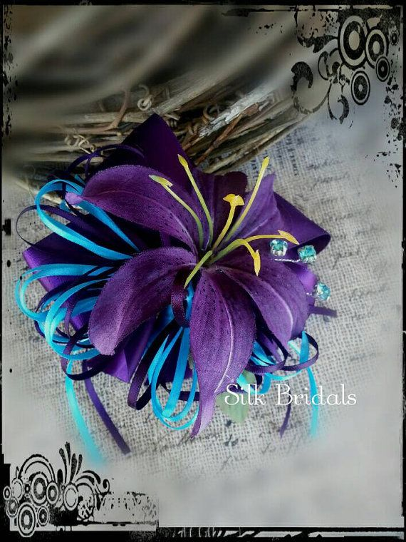 Purple tiger lily WRIST Corsage purple and turquoise ...