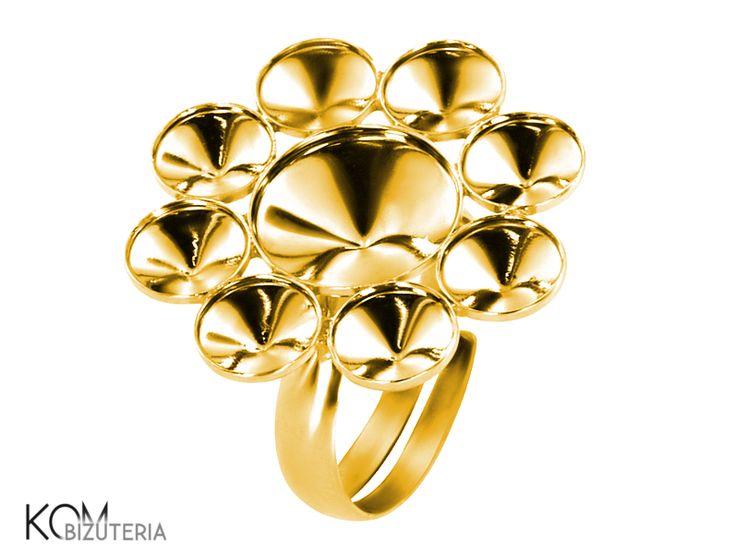 Ring base rivoli 6mm, 10mm  P8 adjustable - gold-plated silver