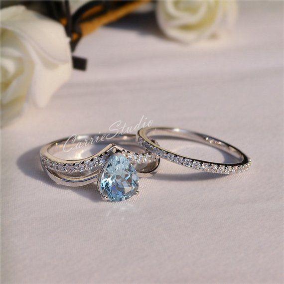 bf2d9d4d41f32 Natural Aquamarine Ring Set Aquamarine Engagement Ring Set with ...