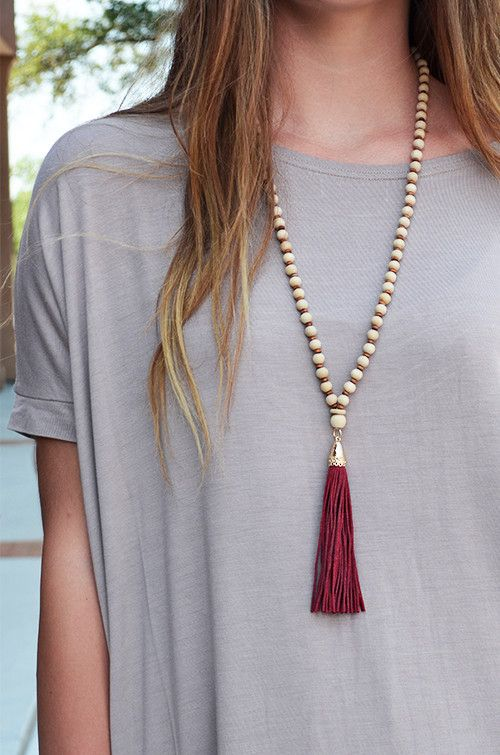 RESTOCKED!! :: Cordial Tassel Necklace :: $14 :: Groovys.com :: long necklace, light-weight wooden beads, long burgundy tassel