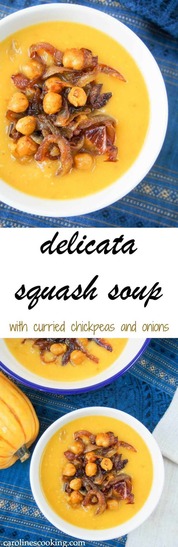 This delicata squash soup is super easy to make and tastes delicious, especially with the curried chickpea & onion topping. Perfect for lunch on a cold day. Vegetarian, vegan and gluten free.