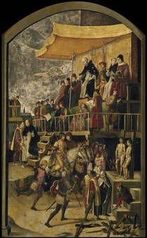 Auto de Fe presidido por Santo Domingo de Guzman, Pedro Berruguete (1493-1499)