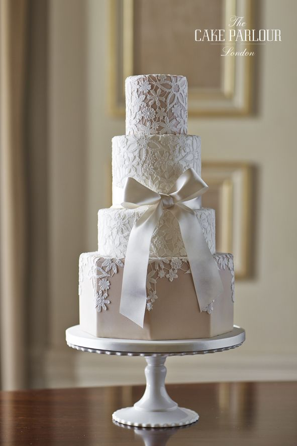 'GUIPURE LACE' Wedding Cake - Delicate textured appliqués connected with thin royal-iced thread to resemble 'guipure' lace.