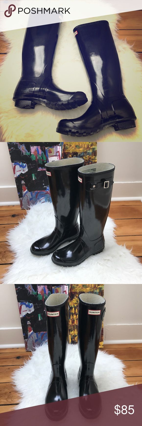 Hunter Boot USA Gloss Rain Boot Black size 8 Hunter boot USA original refined high gloss finish rain boot. Waterproof. Size 8 although I typically wear an 8 1/2-9, these fit great. Barely worn. Some discoloration inside due to jeans. See pic. New refined, tailored silhouette. Slim leg fit. Please look at pic for sizing. Hunter Boots Shoes Winter & Rain Boots