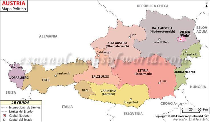 Austria Mapa , Mapa de Austria