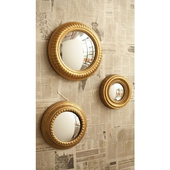 Two's Company Gold Leaf Convex Wall Mirrors (Set of 3) - Wall Décor - Home Furnishings