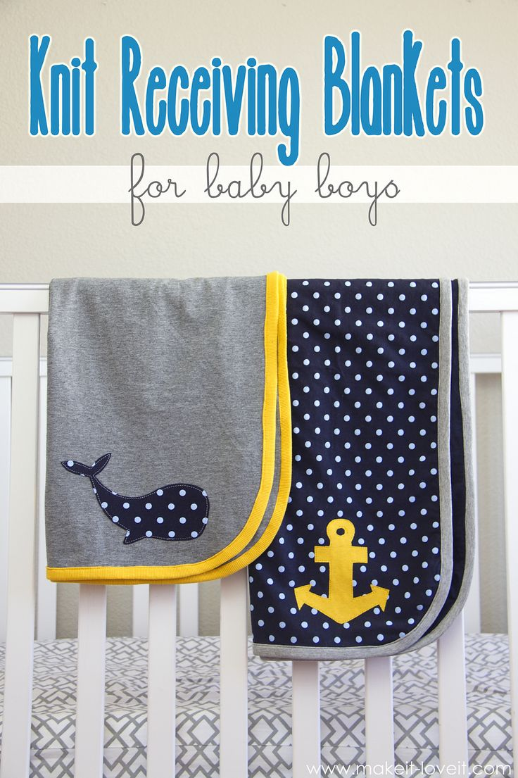 DIY Knit Receiving Blanket for Baby Boys --- : a quick and easy receiving blanket that is lightweight. www.makeit-loveit.com
