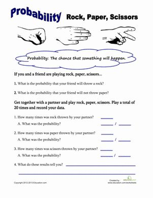 Fifth Grade Probability Worksheets: Rock, Paper, Scissors Probability