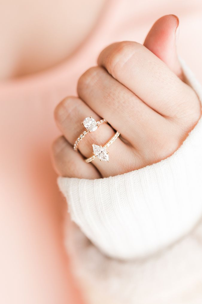 Oval and marquise pave engagement rings by James Allen