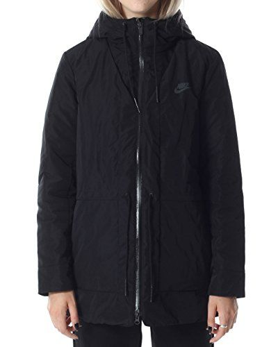 ef8b42867cb9 Nike Women s NSW Down Fill Parka Jacket w Hoodie 805080-010 (Small)  Black Anthracite in 2019