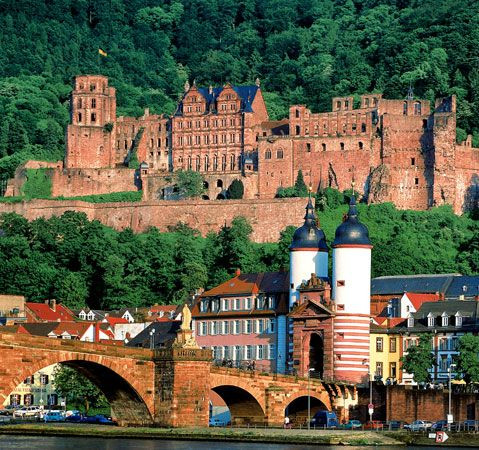 Heidelberg Castle, with the Old Bridge in the foreground, in Heidelberg, Germany