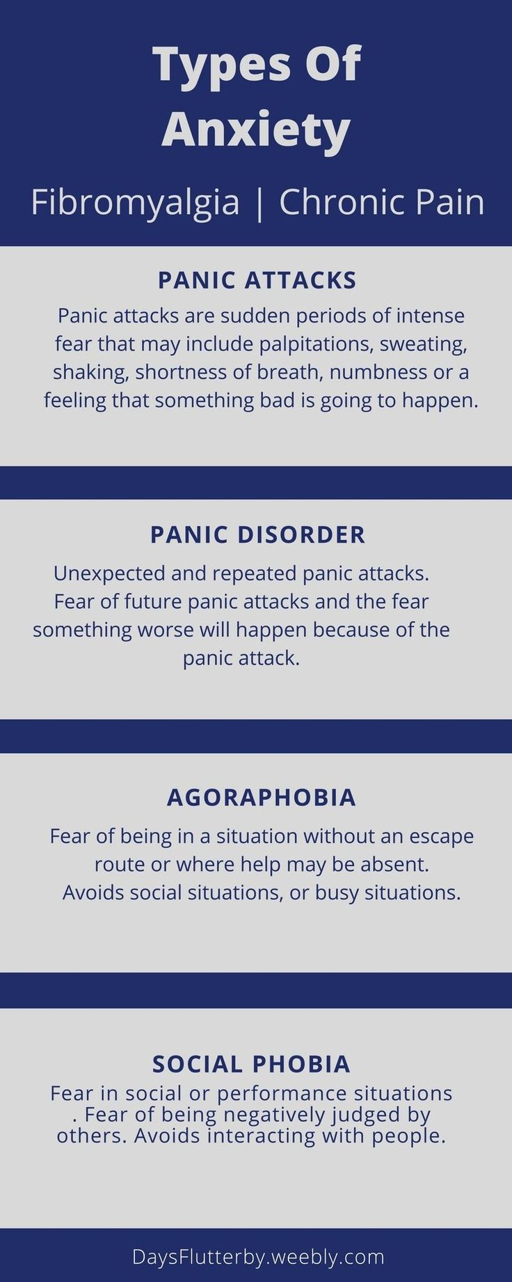 types of anxiety disorders and it s People with anxiety disorders experience persistent fear, worry, or dread, which is out of proportion to the circumstances, causes them significant distress and/or.