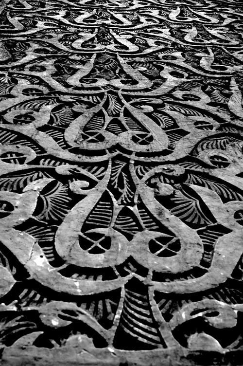 Carving on Mosque... Marrakesh... Photoraphy Peter Carman...2006