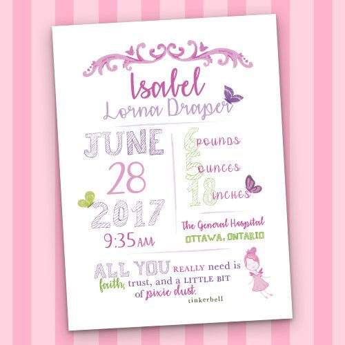 The 25 best birth gifts for mom ideas on pinterest baby gifts custom baby birth stats fairy and butterfly you will get a printable pdf digital file with the cutest design of babys birthday details makes a great gift negle Image collections