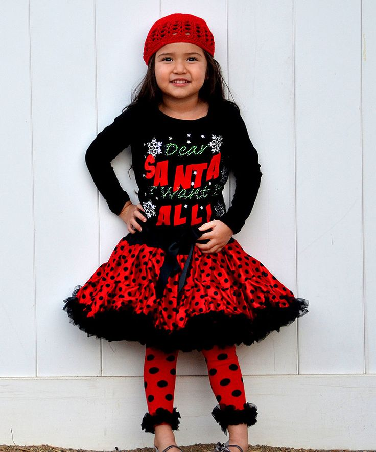 Take a look at this So Girly & Twirly Black 'Dear Santa' Tee & Red Tutu - Toddler & Girls today!