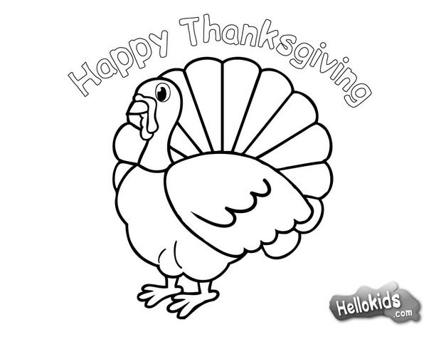 Turkey For Thanksgiving Coloring Page