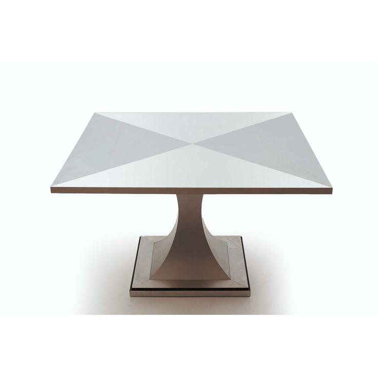 Tavolo da pranzo quadrato paese Italia anni 80 colore grigio in alluminio