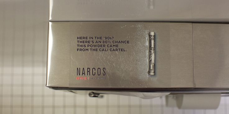Netflix's Secretive New Narcos Ads Are Popping Up, Cocaine-Like, in Nightclub Bathrooms - Doner hits L.A., Chicago, New York and Miami.
