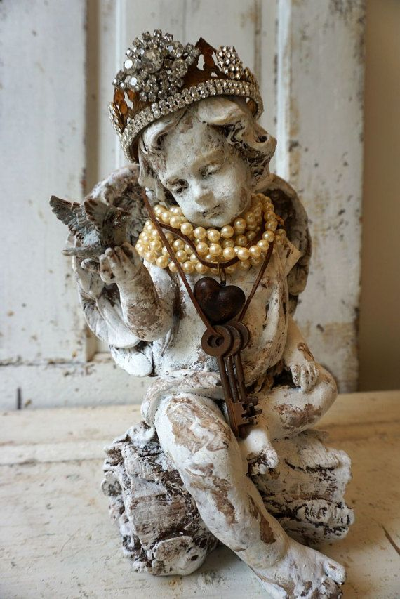 Angel statue holding bluebird wearing handmade ornate crown French farmhouse distressed painted cherub figure decor anita spero design