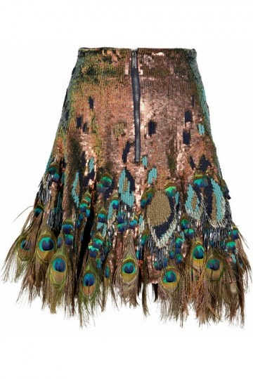 sequins and peacock feathers