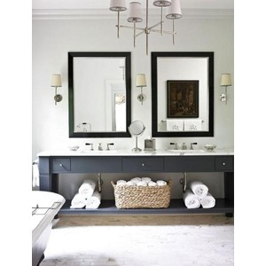 love the navy vanity grey walls i want a wood frame for the mirror