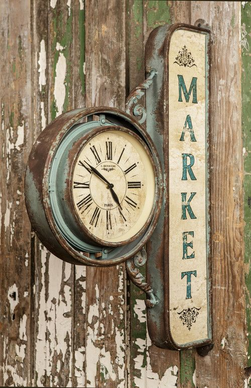 "Farmhouse Market Clock�-��This treasure is sure to transform your space into a true vintage farmhouse market. �We are crazy about it's substantial size and unique charm.Metal Farmhouse Market Clock measures�20"" x 4"" x 30""��"