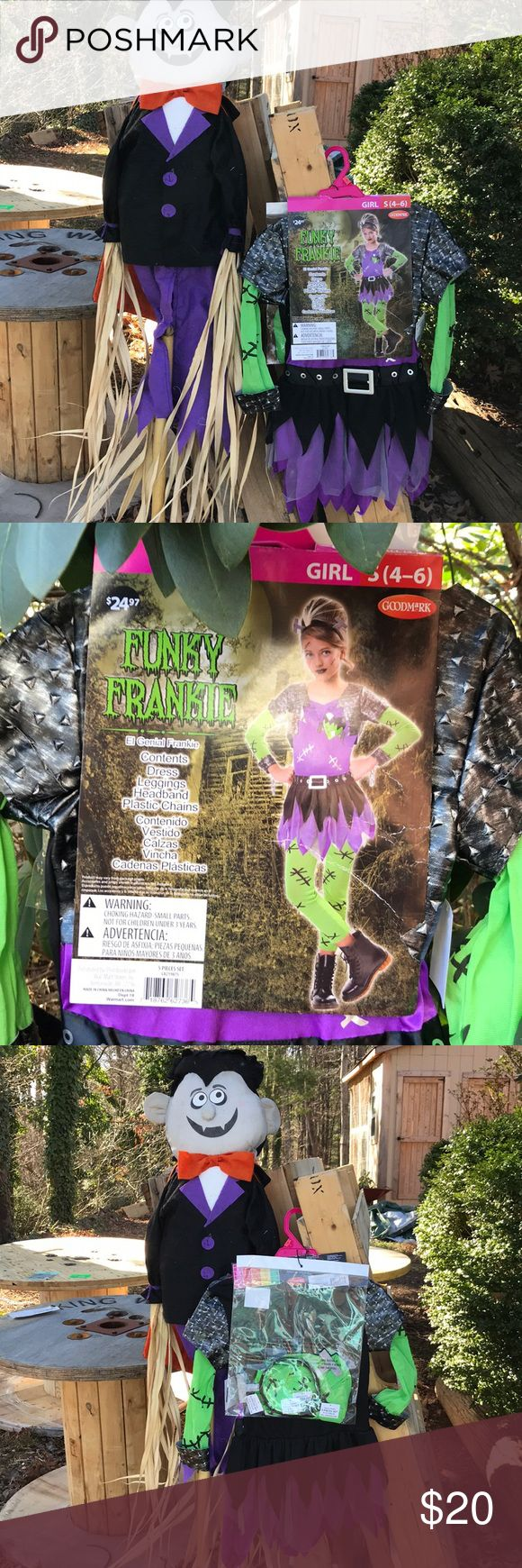 "NWT Funky Frankie 5 pc Halloween Costume S 4/6 New with tags girls Goodmark Funky Frankie Halloween Costume is size girls S (4-6). 5 piece costume consists of dress, leggings, headband and plastic chains. Dress is purple with a faux silver attached jacket. Sleeves and leggings are green with stitches. Fits height 39-48.5"". Chest 26"". Waist 23"".  Hip 26.5"". Made in China. Dress 100% polyester. Sleeves & leggings 100% nylon. Goodmark Costumes Halloween"